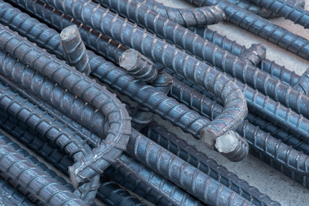 on rebar: Division rebar used in construction concrete, End of steel rebar Stock Photo