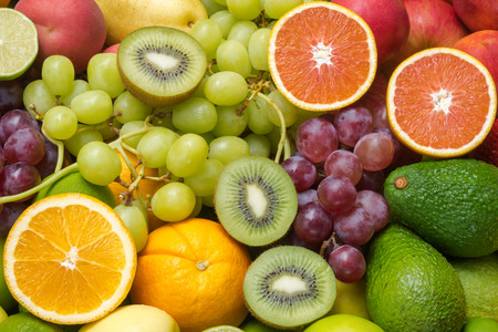 Nutritious fresh fruits and vegetables background