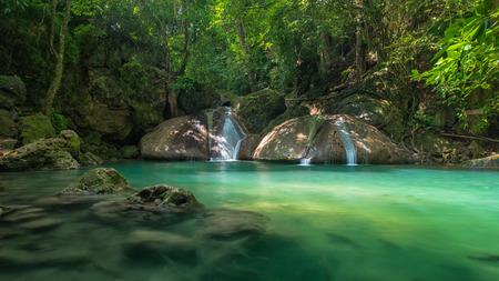 kanchanaburi: Green and clean waterfall , Erawan waterfall , Loacated Kanjanaburi Province , Thailand Stock Photo