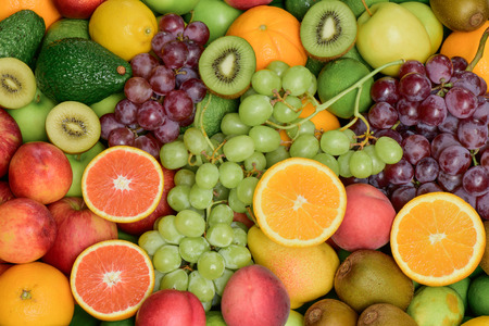 Group of fresh fruits and vegetables for healthy