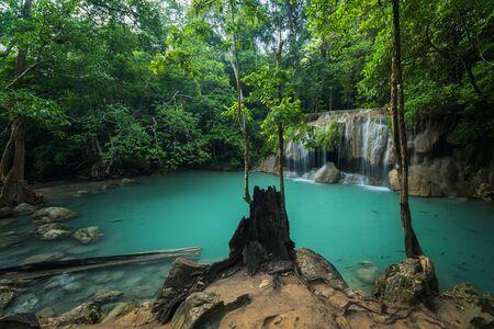 kanchanaburi: Erawans waterfall, Located Kanchanaburi Province, Thailand Stock Photo