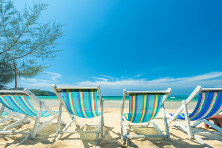 Chair beach for relaxation at the tropical beach, Daylight for sunbath with chair beach at Koh Kood Island, Thailand