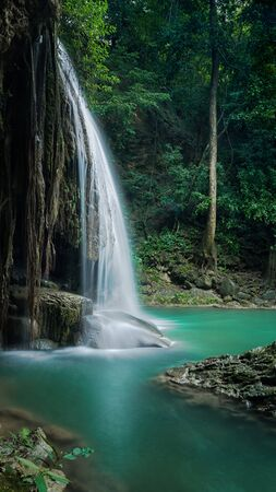Erawan,s waterfall shooting by vertical image, Located Kanchanaburi Province, Thailand