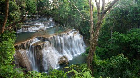 mea: Huay Mea Kamin waterfall at the evergreen forest, Located Kanchanaburi Province, Thailand Stock Photo