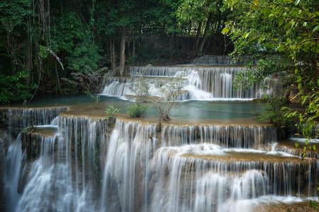 Beautiful and Breathtaking waterfall, Huay Mea Kamins waterfall, Located Kanchanaburi Province, Thailand Stock Photo