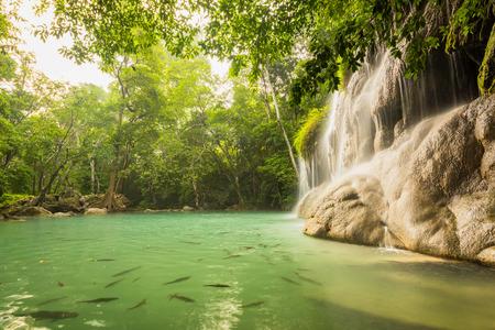 kanchanaburi: Beautiful and Breathtaking waterfall, Erawans waterfall, Located Kanchanaburi Province, Thailand