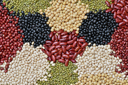 legumes: Various multicolor dried legumes beans for background Stock Photo