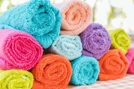 Closeup multicolor towels