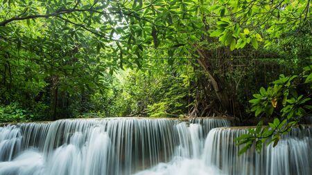 mea: Beautiful and Breathtaking green waterfall, Huay Mea Kamin's waterfall, Located Kanchanaburi Province, Thailand