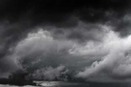 Dark sky and black clouds before rainy, Dramatic black cloud and thunderstorm high contrast