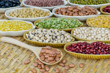 Prepared multicolor dired legumes for cooking