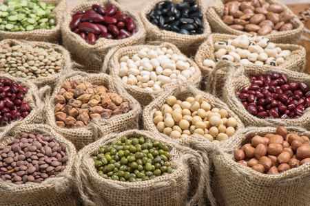 Various dry legumes in a sack cloth