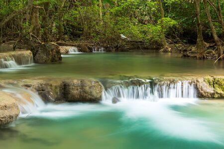mea: Green nature with green waterfall landscape, Erawan waterfall located Khanchanaburi Province, Thailand