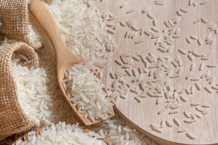 木製 scooop Topview ジャスミン ライス 写真素材