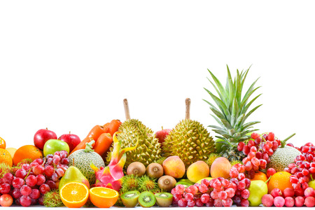 Group of tropical fresh fruits and vegetables isolated on white background, Group of ripe fruits for eating healthy