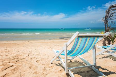 Beach chair on the sandy beach at Kohchang Island, Thailand Stock Photo