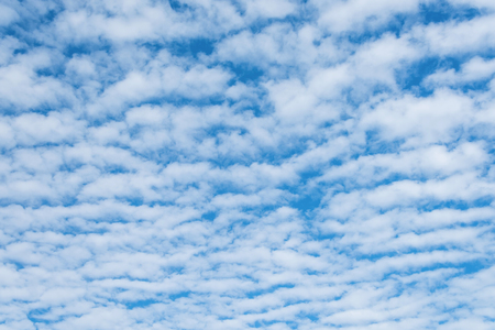 Altocumulus cloudscape on blue blue sky, Beautiful Cirrocumulus or Altocumulus on the middle altitude layer Stock Photo