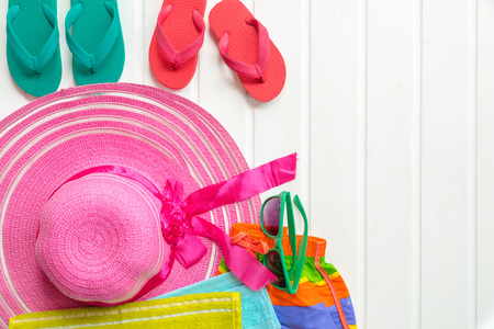 flip flops: Set of summer object on white wooden for background, Object summer concept on plank