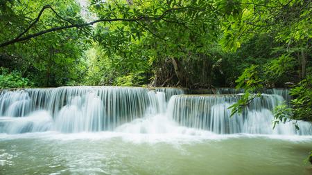 Beautiful and Breathtaking green waterfall, Erawans waterfall, Located Kanchanaburi Province, Thailand Stock Photo