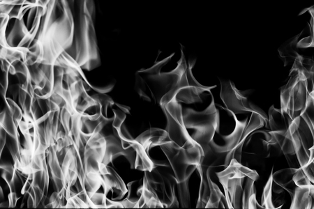 Blazing fire flame black and white for background and abstract