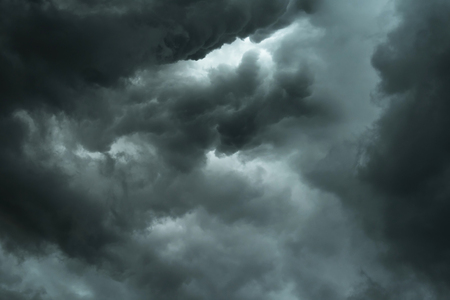 Dark sky and black clouds, Dramatic storm clouds before rainy, Closeup black cloud motion Stock Photo