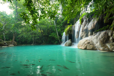 Breathtaking green waterfall Banque d'images - 106165061