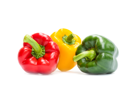 Sweet bell pepper isolated on white background, Red, Freen, Yellow Stock fotó