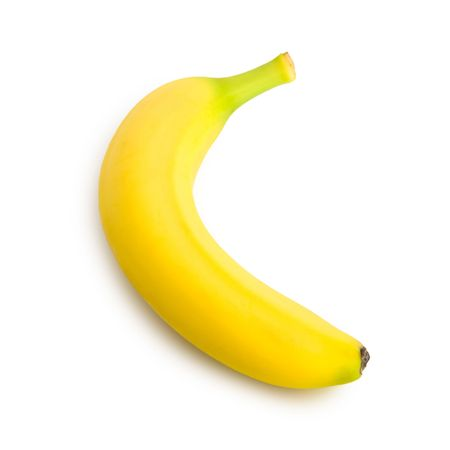 A banana viewed from above (profile) isolated on pure white