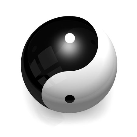 metaphysic: A Ying Yang ceramic ball with smooth reflections on pure white background. Graphicq are centerded on the ball to increase the harmony sensation
