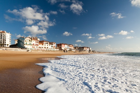 landes: A large white water wave sliding on the Hossegor beach - France Stock Photo
