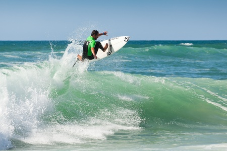 swell: Hossegor, France - September 10, 2010: Free surf of Joan DURU, a pro rider training before competition.