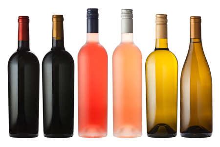 wine  pink: A large mix of wine bottles isolated on white with clipping path