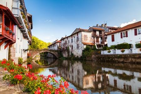 pays: Bridge over the Nive river at Saint Jean Pied de Port, Pays Basque, France