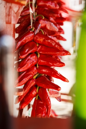 flavouring: Closeup of drying hot red pppers at Espelette, Pays Basque, France