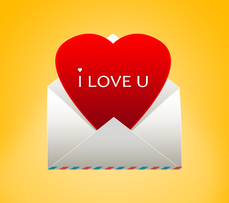 Envelope with a heart for Valentines day. I love you. photo