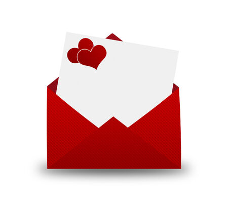 Red Envelope with a heart for Valentines day. photo