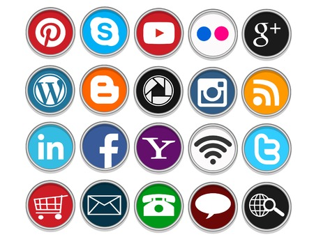 A set of 20 popular social media icons in circular shapes for use in print and web projects. Icons include Pinterest, Youtube, Flickr, Google Plus, Twitter, Facebook and more.