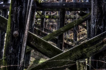 wood railroads: Railroad trestles Stock Photo