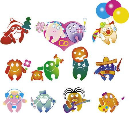 set of fun cartoon people Vector