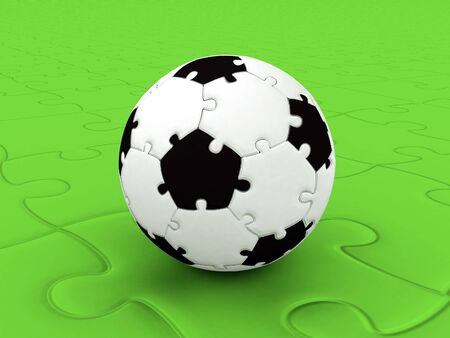 The unreal ball collected from puzzles on a football ground photo