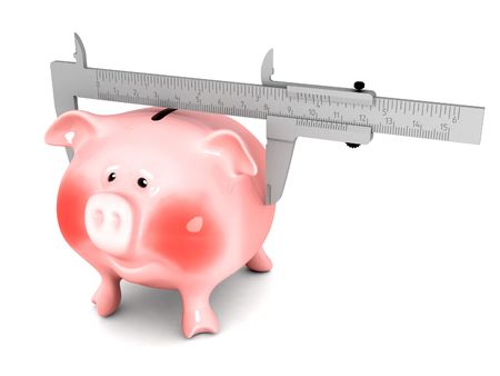 Piggy bank money calculation by waist measurement photo