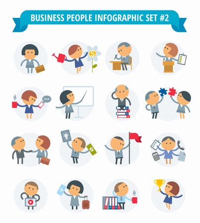 situations: The set of graphic metaphors on the theme of business and office.The illustration of people in various situations. Illustration