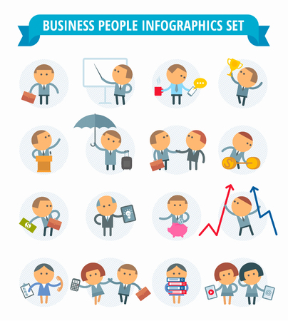 metaphors: The set of graphic metaphors on the theme of business and office.The illustration of people in various situations. Illustration