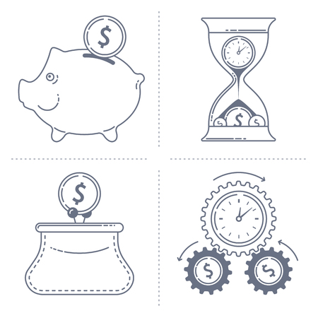 business symbols: Outline dark grey illustrations of the various finance concepts.