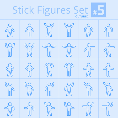 situations: The set of line pictogram of man poses and gestures in various situations. Suitable for infographics, diagrams, etc.