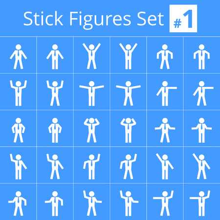 figure: pictograms set of square male poses and gestures in various situations. Suitable for infographics, diagrams, etc.
