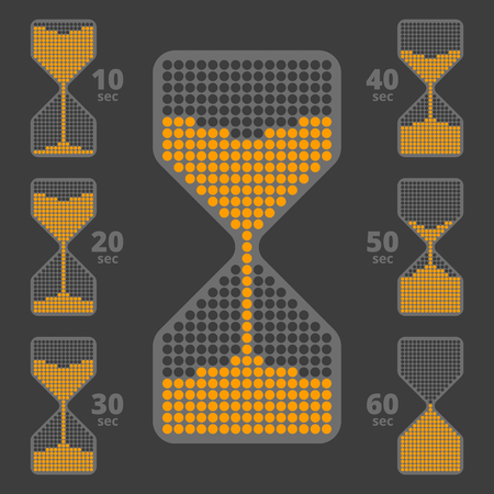 the interval: collection of  timer flat icons. Ten seconds interval hourglass pictograms. Illustration
