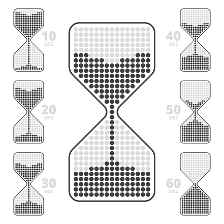 digital clock: collection of  timer flat icons. Ten seconds interval hourglass pictograms. Illustration