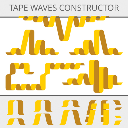 tuck: Tape waves constructor. Set of parts for design bands of different shapes. Flat elements and assemblies. Illustration