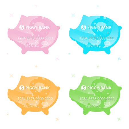 Four vector colored credit cards in the form of a piggy-bank with dollar sign on a white background Illustration